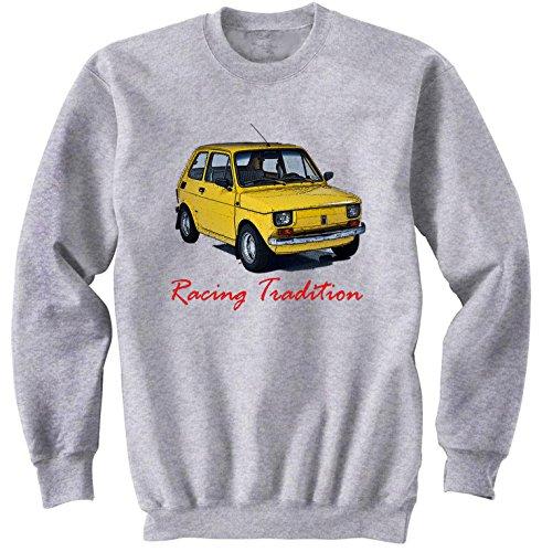 TEESANDENGINES Men's Fiat 126 P MALUCH Polish Racing Felpa Grigia Size Medium