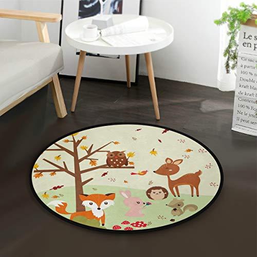 Mnsruu Wald Fuchs mit Eulen, runder Teppich, rutschfest, bequem, rund, Bodenteppich für Wohnzimmer, Schlafzimmer, 92 cm Durchmesser