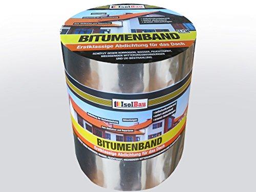 10 m x 300 mm IsolBau Aluminium Bitumenband Dachreparatur Aluminiumband Reparaturband Dach Aluband Selbstklebende Farbe: Aluminium - Grau