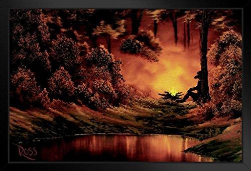 ProFrames Poster Gießerei Bob Ross Lagerfeuer, Kunstdruck, Gemälde Framed in Black Wood 14x20 inch Mehrfarbig / 4444