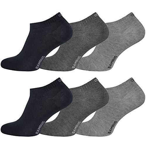OCERA 6 Paar Bambus Sneaker (Unisex) für Damen und Herren in verschiedenen Farben - Grau-Mix 39/42