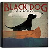 Mosearon Black Dog Canoe CO.Canvas Art Photo Printed Artworks, Wall Art Print Oil Painting for Child Room Home Decor,12x12x1.35inch