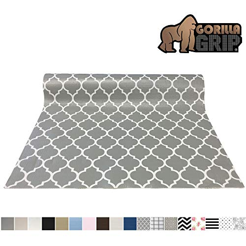 Gorilla Grip Original Smooth Top Slip-Resistant Drawer and Shelf Liner, Non Adhesive Roll, 20 Inch x 20 FT, Durable Kitchen Cabinet Shelves Liners for Kitchens Drawers and Desks, Quatrefoil White Gray