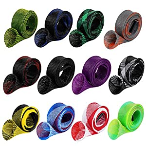 12Pcs Rod Sock Fishing Rod Sleeve Rod Cover Braided Mesh Rod Protector Pole Gloves Fishing Tools. Flat or Pointed End/Spinning or Casting Rods. for Casting Sea Fishing Rod/Spinning Fishing Rod