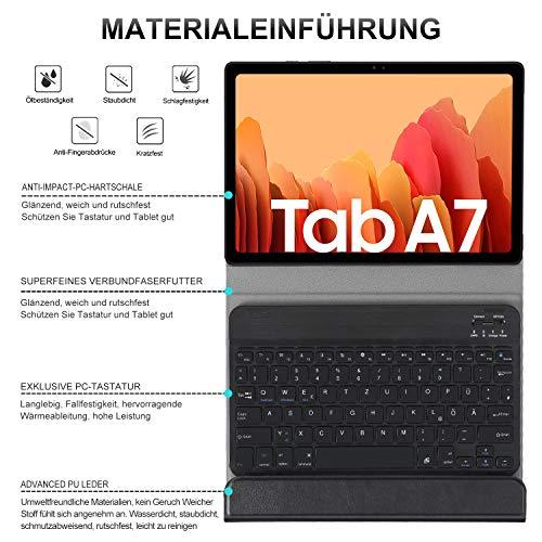 ELTD Tastatur Hülle für Samsung Galaxy Tab A7 (Deutsches QWERTZ),Ständer PU Schutzhülle Hülle mit magnetisch Abnehmbarer Kabellose Tastatur für Samsung Galaxy Tab A7 2020 10.4 Zoll (Schwarz)