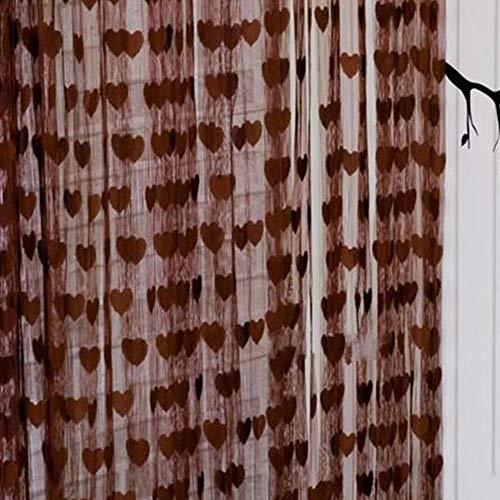 PENVEAT Heißer Herz Fadenvorhang Fenster Tür Balkon Dekoration Dekorative Vorhang für Wohnzimmer Schlafzimmer, Kaffee