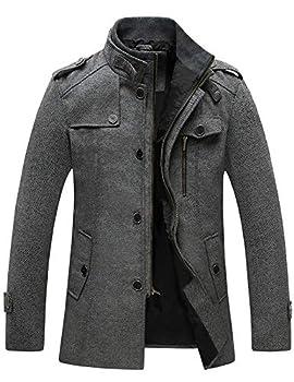 Wantdo Men s Long Peacoat Military Winter Coat Windproof Wool Jacket Grey X-Large