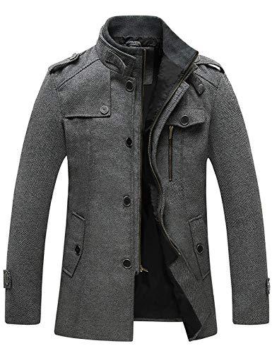 Wantdo Men's Long Peacoat Military Winter Coat Windproof Wool Jacket Grey X-Large