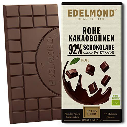 Rohe 92% Bio Schokolade Edelmond. Nur Edel-Kakaobohnen und Kokosblüten-Nektar, absolute Fruchtopulenz! Vegan und Fair-Trade