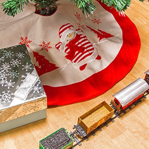 The Christmas Workshop - Gonna con pupazzo di neve, colore: bianco e rosso, 90 cm di diametro