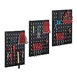 Relaxdays Panel de herramientas de 3 piezas, incluye soporte de herramientas de 17 piezas, panel perforado de 60 x 39 cm, metal, color negro y rojo