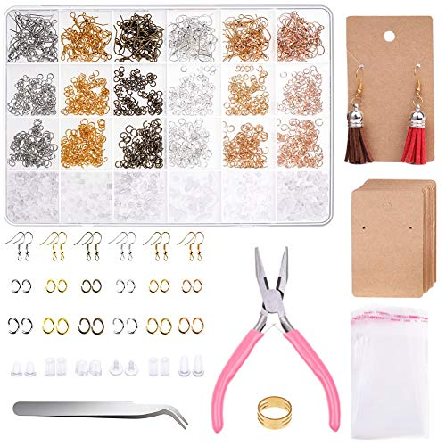 Earrings Hooks for Jewelry Making, Anezus 2000Pcs Earring Making Supplies Kit with Fish Hook Earrings, Earring Cards, Jewelry Plier, Earring Backs and Jump Ring for Jewelry Making and Earring Repair
