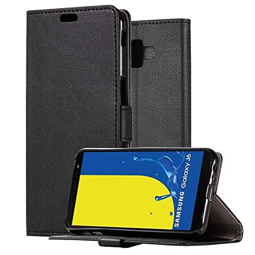 HDRUN Funda Samsung J6+ /J6 Plus- Prima Ultra Carcasa Libro de Cuero PU Tapa Billetera con Ranuras de Tarjeta Cierre Magnético Elegante Protección Carcasa Case para Samsung Galaxy J6 Plus, Negro