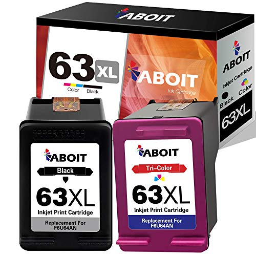 ABOIT Remaunfactured 63XL Ink Cartridge Replacement for HP 63 63 XL 63XL Ink for HP OfficeJet 3830 Envy 4520 4512 Officejet 4650 5255 Deskjet 1112 3634 3632 Printer (2 Pack)