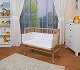 WALDIN Baby,Lettino culla,altezza regolabile,paracolpi e materasso,in 16 varianti, natural...