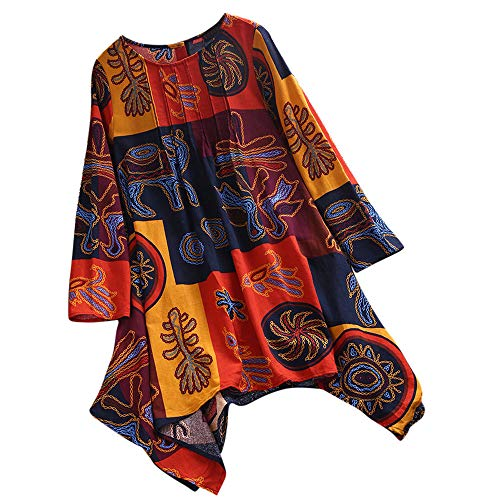 VJGOAL Femmes Top Femme Chemisier Femme Grande Taille Haut Manches Longues Print Chemisier Pull Shirt DéBardeur (FR-52CN-5XL,Orange)