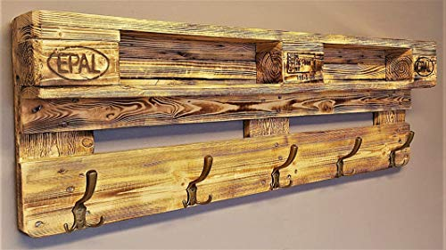 Garderobe Holz vintage aus Europalette mit Aufhängung incl. 5 Kleiderhaken Wandregal Ablage vintage...