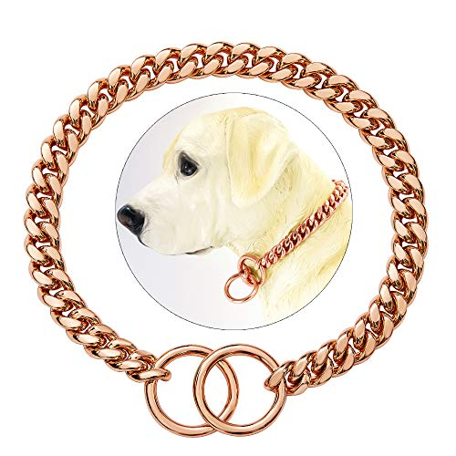 txprodogchains Rose Gold Chain Dog Collar 10MM Cuban Link Chain Stainless Steel Metal Links Walking Training Collar for Small Medium Large Dogs (22')