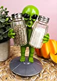 """Ebros UFO Outer Space Colony Extra Terrestrial Roswell Alien On Flying Saucer Spaceship Salt And Pepper Shakers Holder Statue 7""""Tall For Kitchen Decor Event Hosting Chef Hobbyist (Green)"""