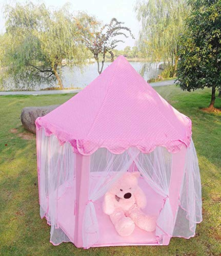 Barm Polyester pongee foldable play house,Mongolian yurt indoor and outdoor children's tent hexagonal children's tent foldable children's gifts for boys girls prince princesses castles kids' gift
