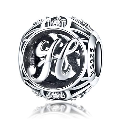Argento sterling 925alfabeto vintage initial H charms, CZ lettera dell' alfabeto perline braccialetto bracciali ciondoli