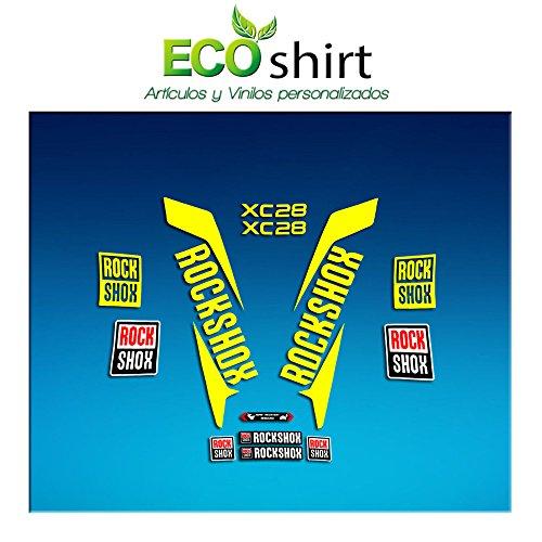 Ecoshirt 3R-PVEL-XG6I Sticker Stickers Fork Rock Shox Xc28 2017 Am168 Aufkleber Decals Autocollants Adesivi Forcela, Gelb