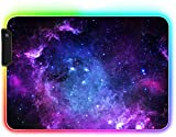 Alfombrilla Ratón RGB - UCMDA Alfombrilla Gaming 14 Modos de Luces XL (35 x 25 cm), Grande Mouse Pad Base Antideslizante y Impermeable para Gamer, Ordenador, PC y Laptop (Cielo Estrellado)