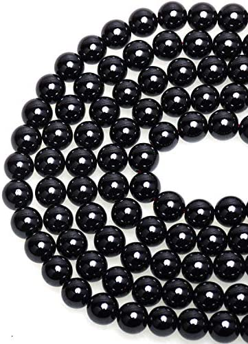 LPBeads 100PCS 8mm Black Onyx Beads Gemstone Round Loose Beads for Jewelry Making with Crystal product image