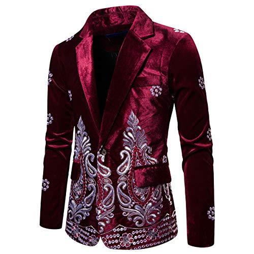 Mens Velvet Dress Suit Jacket Slim Fit Embroidery Tux Blazer Dinner Sport Coat Wine Red