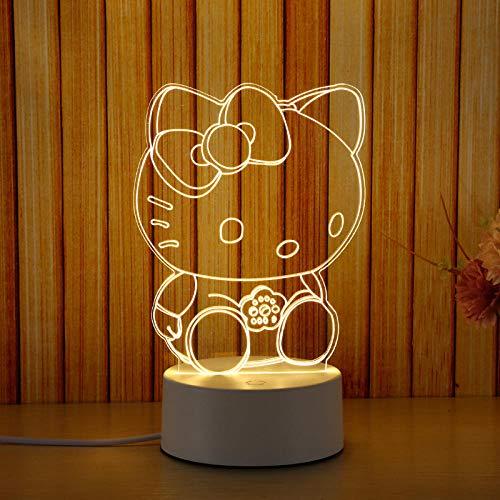 Veilleuse LED lampe de chevet 3D petite lampe de table chambre cadeau d'anniversaire pour petite amie-Interrupteur à distance_Hello Kitty (tricolore)