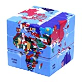 Speed Cube World Map Design Magic Cube Puzzle,IQ Games Puzzles Relief Effect Kids Adult Toys,5.6cm/2.2'