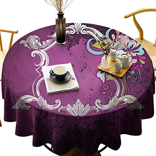 Dasnh Home Decoration Printing Round Tablecloth Vintage Antique Frame Motif Diameter 36 inch for Wedding/Banquet/Restaurant