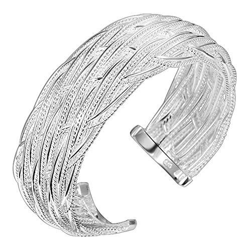 Onefeart Plata Esterlina Bangle para Mujeres Niñas Señoras Estilo Tela Asargada Diseño Wristlet 6x2CM Plata