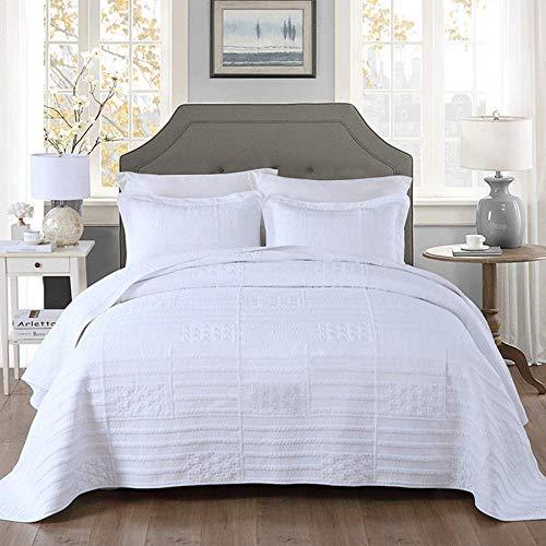 Colcha acolchada para cama doble, juego de 3 piezas de ropa de cama, 100% algodón, edredón multifunción, edredón fino de verano, funda de cama / manta / sábana para todas las estaciones, 230x250 cm +