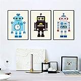 FURUOWAN Decoración de la pintura de la sala de estar de 3 dormitorios Tamaño completo/marco/patrón fresco/Robot de dibujos animados lindo Impresión de arte 3 unids/set lienzo póster pintura a