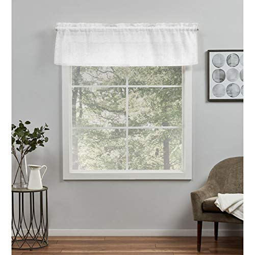 Exclusive Home Curtains Belgian Sheer -Rod Pocket Tailored Valance, 54X16, White