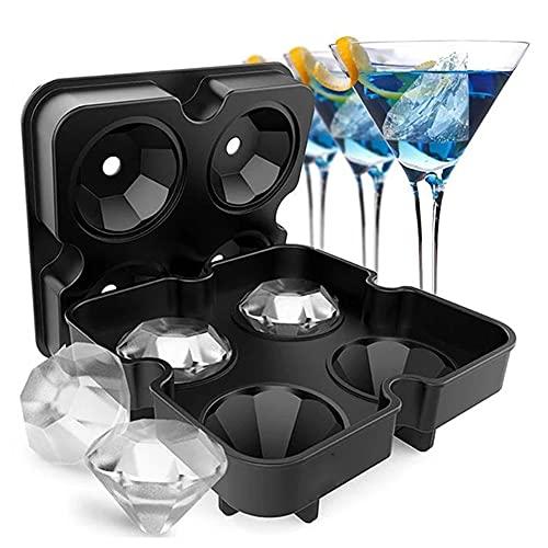 Bandeja de cubitos de hielo de diamante 3D, fabricante de cubos de hielo reutilizable, moldes de helado de silicona, para formar moldes de chocolate, whisky, fiesta, herramientas de barras