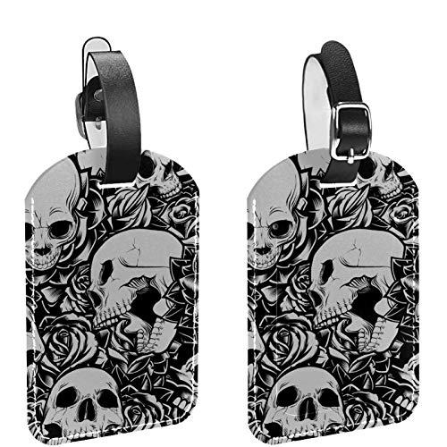 Paquete de 2 etiquetas de identificación de equipaje de cuero para hombres y mujeres, para bricolaje, maleta, bolsa de equipaje, etiqueta de calavera, color negro, blanco, patrón de rosa