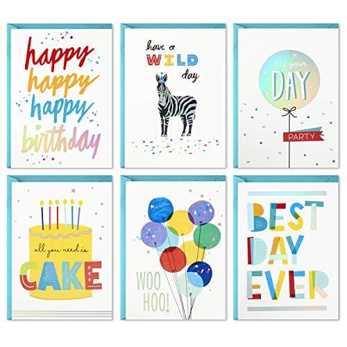 Hallmark Geburtstagskarten Sortiment, 24 Karten mit Umschlägen (Regenbogen-Schriftzug, Best Day Ever) (5STZ1031)