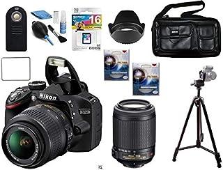 كاميرا نيكون D3200، 18-55VR، 55-200VR، 16 جيجا، حقيبة، حامل ثلاثي، 2 فلاتر UV، ريموت كنترول، مجموعة تنظيف، غطاء عدسة وشاشة