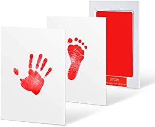 Newborn Baby Handprint and Footprint Ink Pad, Inkless Infant Hand & Foot Stamp, Easy to Wipe/Wash Off Skin - Smudge Proof & Long Lasting Keepsakes(Red)