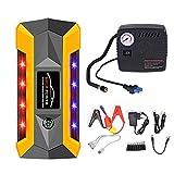 CONRAL 600A Peak Jump Starter con compresor Aire, Paquete energía multifunción 20000mAh / Banco energía con 4 x Puerto USB y Linterna LED, Pantalla LCD Inteligente, Herramientas Emergencia