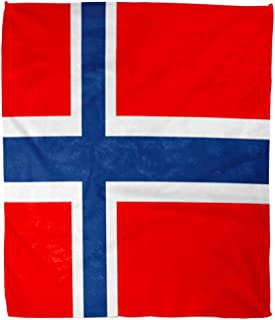 Golee Throw Blanket Blue Norway Norwegian Flag Red Accurate Correctly Country Culture Curve 50x60 Inches Warm Fuzzy Soft Blanket for Bed Sofa