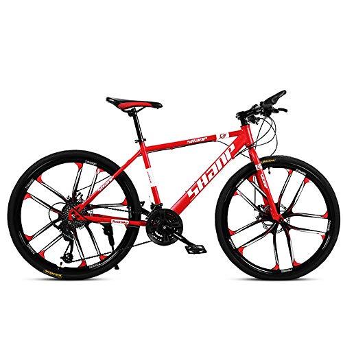 WSJ Bicicleta de montaña para adulto, 26 pulgadas, freno de disco doble, una rueda, 30 velocidades, bicicleta todoterreno para hombres y mujeres, color verde, rojo
