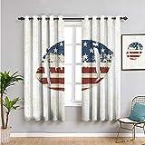 Xlcsomf Rideau de placard, rideau de 99,1 cm de long, motif drapeau américain grunge, cousu à la main, ballon de rugby, design vintage, réduit la lumière, multi l 137 x L 99,1 cm