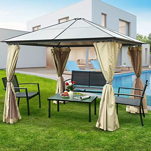Tangkula 10'x10' Gazebo Tent, Hardtop Canopy Tent with Aluminum Frame, Suitable for Patio Garden Poolside, All Weather-Proof Outdoor Gazebo with 2 Layers Sidewalls