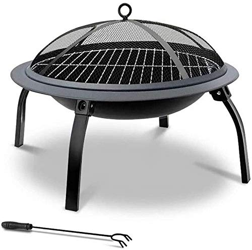 Large Fire Pit, 22' Barbecue Grill, Steel Folding Outdoor Garden Patio Heater Grill Camping Bowl BBQ with Spark Screen & Fork & Carry Bag Stove