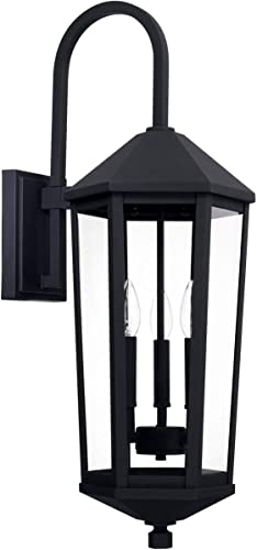 lowest Capital Lighting online sale 926931BK Ellsworth 28.75 Inch Outdoor wholesale Wall Lantern Approved for Wet Locations, Black Finish with Clear Glass outlet sale