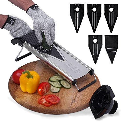 [Improved] V-Blade Mandoline Food Slicer + FREE Cut-Resistant Gloves - Stainless Steel Adjustable Vegetable Mandolin Slicer, Julienne Cutter - Includes 5 Inserts, Food Holder & Blade Guard