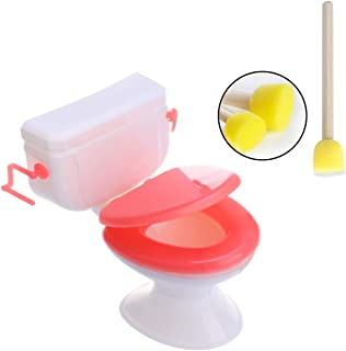 Hosfairy Dolls House Toilet Toys Mini Cake Decor with One Toilet Brush for Girl and Boy Party Gift